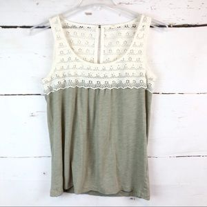 J. Crew | Tank with Lace Detail, Size S
